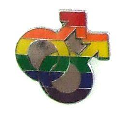 Gaysentials Lapel Pin Rainbow Double Male