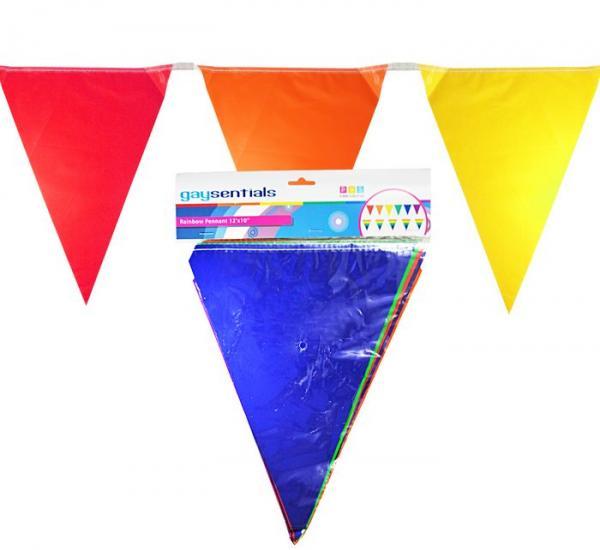 Gaysentials Rainbow Solid Pennants Decoration 12 feet