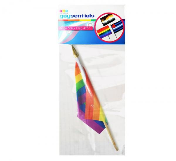 Gaysentials Rainbow Stick Flag 4 inches by 6 inches