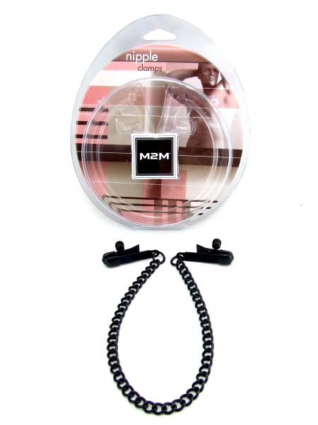 M2M Nipple Clamps Alligator Ends With Chain Black