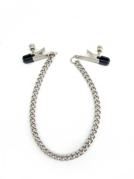 M2M Nipple Clamps Alligator Ends With Chain Chrome