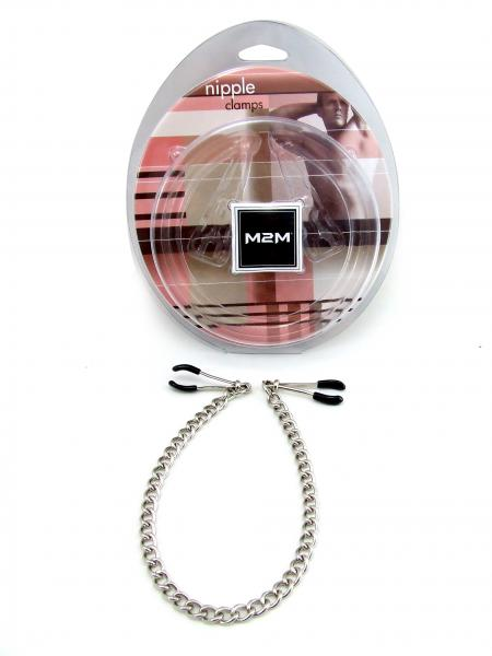 M2M Nipple Clamp Wide Tweezer With Chain Chrome