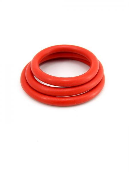 M2M Cock Ring Nitrile 3 Pieces Set Red