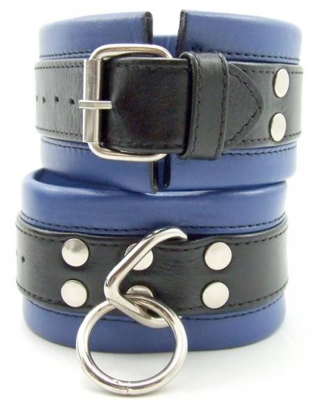 M2M Restraints Ankle Soft Leather Black Blue Cuffs