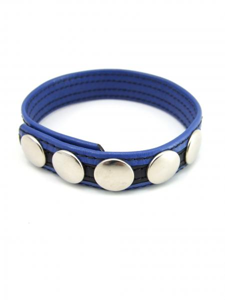 M2M Leather 5 Snap Cock Ring Black Blue
