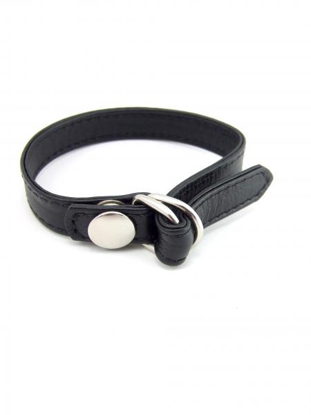 M2M Cock Ring Leather D-Ring Snap Release Black