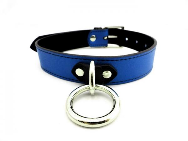 M2M Collar Leather D-Ring Blue O/S
