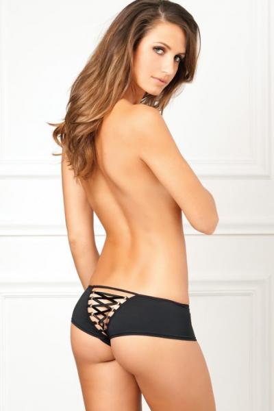 Rene Rofe Crotchless Lace Up Back Panty Black S/M