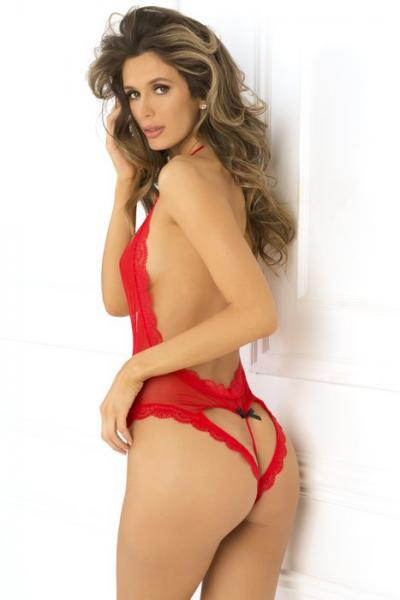 Rene Rofe Open Back Lace & Net Teddy Red S/M