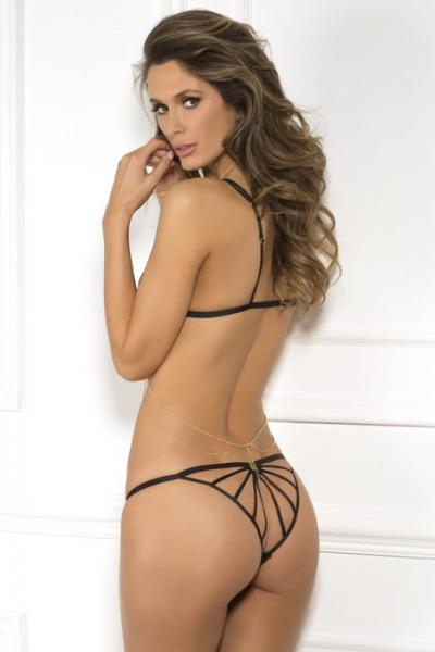 Rene Rofe Chain Harness Bra & Panty Set Black S/M