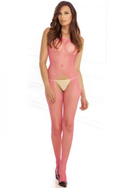 Industrial Net Suspender Bodystocking Pink O/S