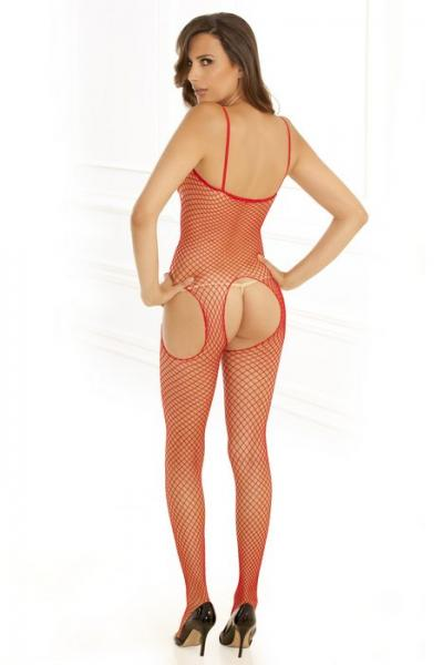 Industrial Net Suspender Bodystocking Red O/S