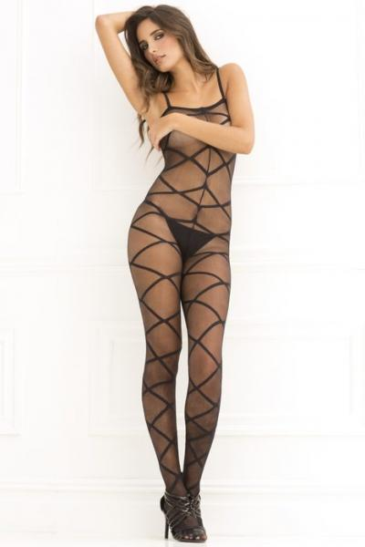 Rene Rofe Strapped Up Sheer Bodystocking Black O/S