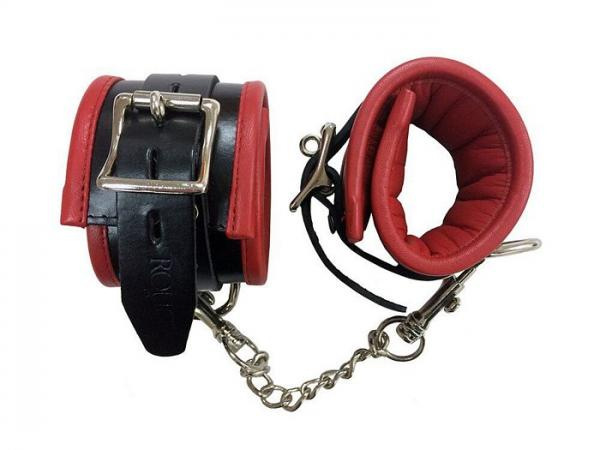 Rouge Padded Leather Ankle Cuffs Black Red