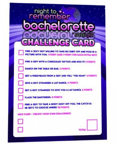 Bachelorette Challenge Cards