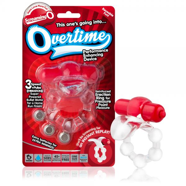 Overtime Vibrating Erection Ring Red