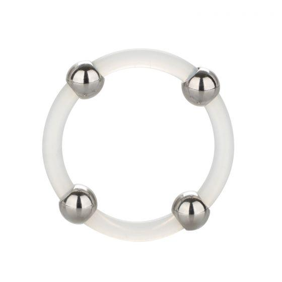 Steel Beaded Silicone Ring Large Clear
