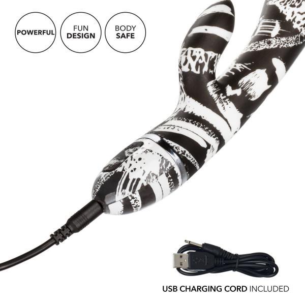 Hype Dual Wand Rabbit Style Vibrator Black White