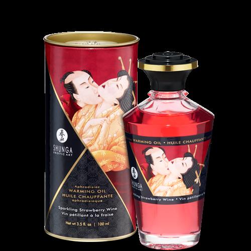Shunga Warming Massage Oil Strawberry 3.5 fluid ounces