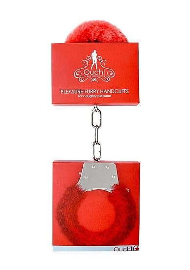 Ouch Pleasure Handcuffs Furry Red