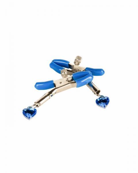 Jewel Adorned Nipple Clamps Blue