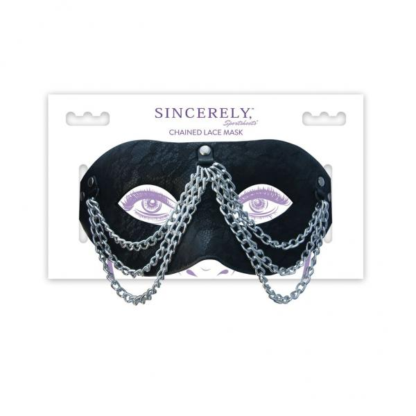 Sincerely Chained Lace Mask Black O/S