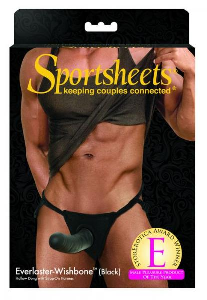Sportsheets Black Everlaster-Wishbone Hollow Strap On