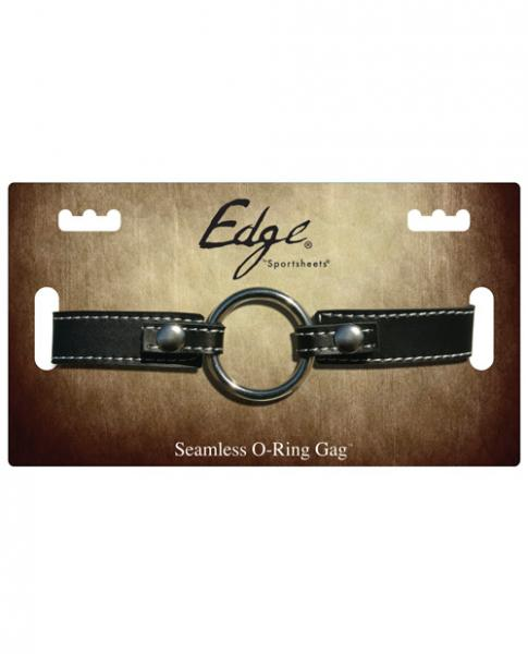 Edge Leather Seamless O Ring Gag Black O/S