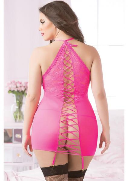 Fishnet, Lace Chemise & Thong Hot Pink Queen Size