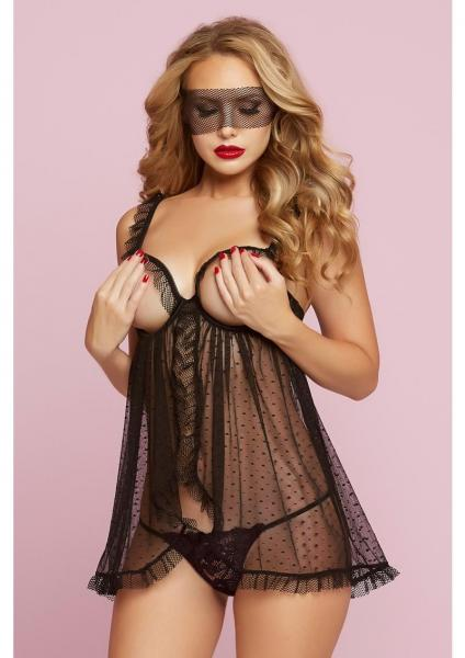 Floral Galloon Lace & Dot Mesh Babydoll Black O/S
