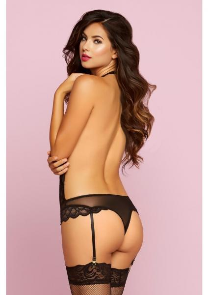 Feather Galloon Lace & Mesh Teddy Black O/S