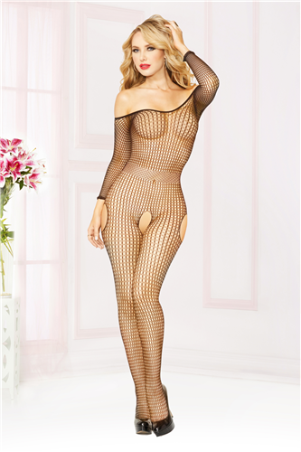 Off The Shoulder Bodystocking O/S Black