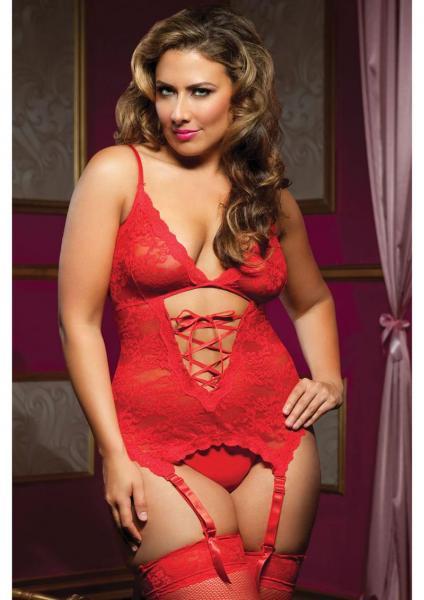 Midnight Affair Cami Garters Red Queen Size