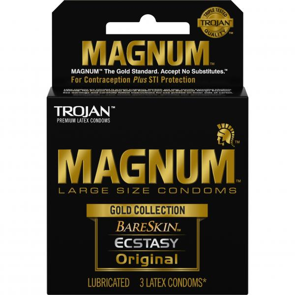 Trojan Magnum Large Size Condoms Gold Collection 3 Pack