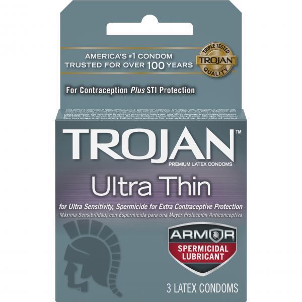 Trojan Ultra Thin Armor Spermicide Condoms 3 Pack