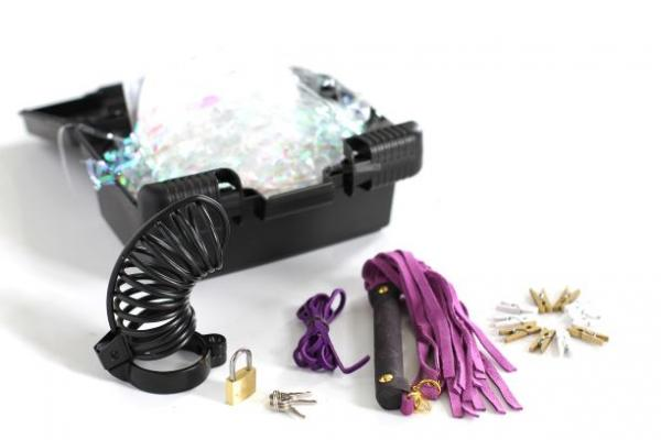 CBT Kit Chastity Cage, Flogger, Clothes Pins, Lacing, DVD Case Purple