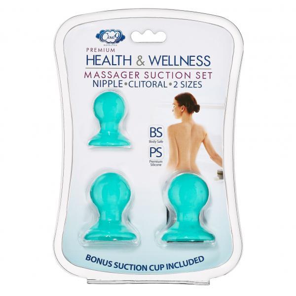 Cloud 9 Health & Wellness Nipple & Clitoral Massager Suction Set Teal