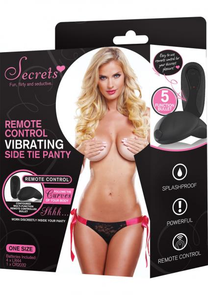 Secrets Panty Side Tie Vibrating Black/Pink OS