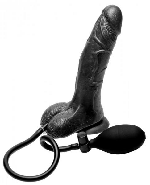 Inflatable Suction Cup Realistic Dildo Black