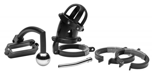 Oppressor Male Confinement Chastity Cage With Ball Clamp And Anal Hook