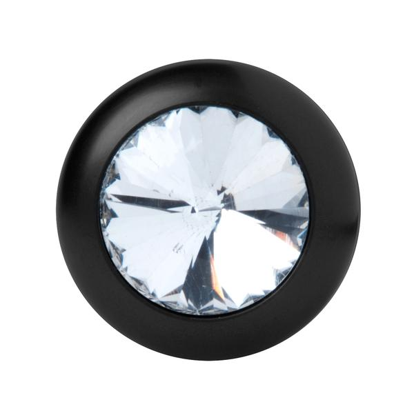 Spade Petite Jeweled Anal Plug Aluminum Black