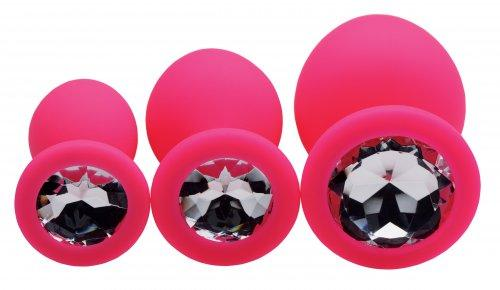 Frisky Pink Pleasure 3 Piece Silicone Anal Plugs with Gems