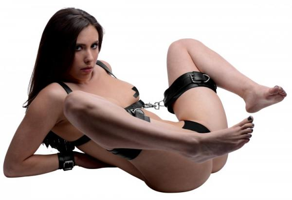 Deluxe Thigh Sling With Wrist Cuffs Black Leather