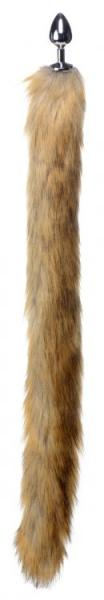 Extra Long Mink Tail Metal Anal Plug Brown