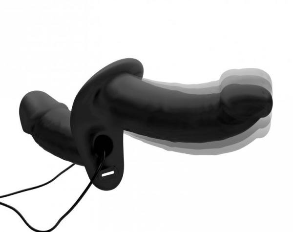 Power Pegger Silicone Vibrating Double Pleasure Dildo With Harness Black