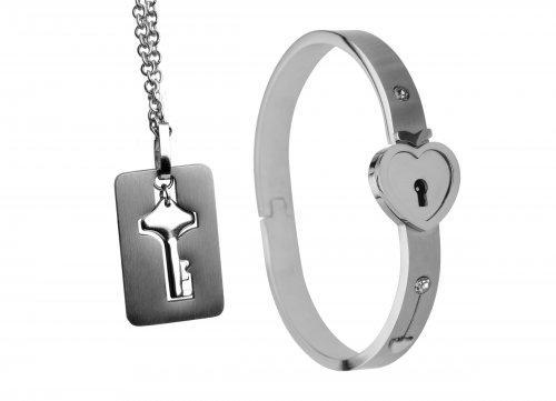 Cuffed Locking Bracelet, Key Necklace Tungsten Steel