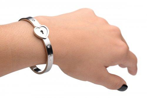 Cuffed Locking Bracelet, Key Necklace Tungsten Steel