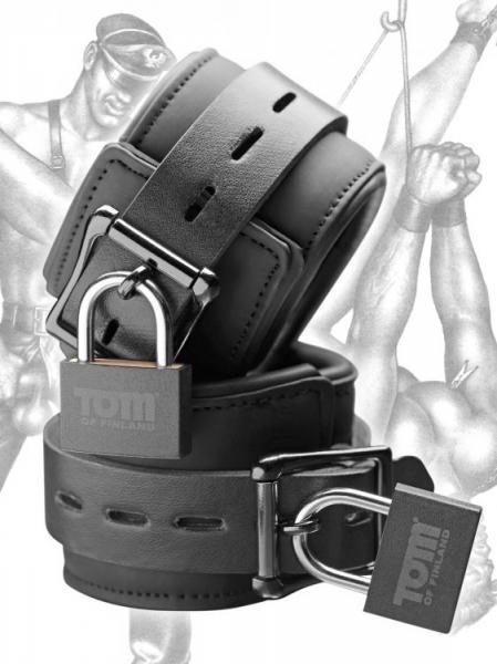 Tom Of Finland Neoprene Wrist Cuffs with Locks Black