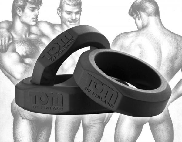 Tom Of Finland 3 Piece Silicone Cock Ring Set Black