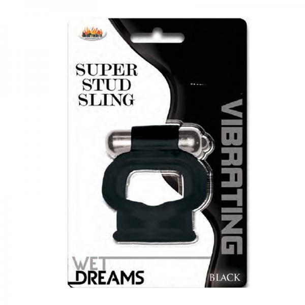 Wet Dreams Vibrating Super Stud Sling Black